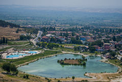 Pamukkale valley and lake, Turkey royalty free stock photos