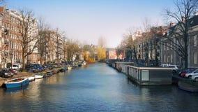 Pan Across Beautiful Canal Panorama stock footage