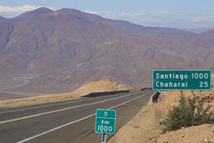 Pan American Highway Chile Arkivbild