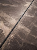 Pan-american highway and Nazca lines view from small plane. Peru Royalty Free Stock Photo