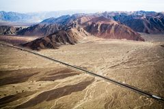 Pan-americana near Nazca, Peru Royalty Free Stock Photos