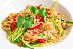 Pan-Asian rice noodles with beef, vegetables, bean Stock Images