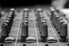 Pan And Aux Dials audio profissional fotografia de stock