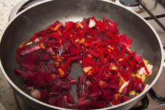 Pan with beet Stock Images