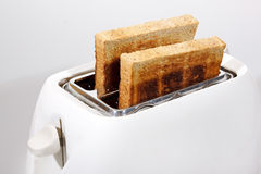 Pan blanco de la tostadora y del trigo integral fotos de archivo libres de regalías