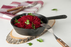 Pan with braised beetroot Royalty Free Stock Photo