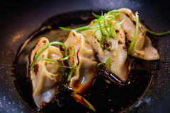 Pan briet gyoza Stockbilder