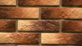Pan brown decorative brick your home. Brickwork background. Unique drawing block. Clear place for your isolated text pattern. Empty space for your title copy stock video footage