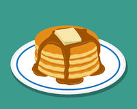 Pan cake in flat style, isolated vector Stock Images