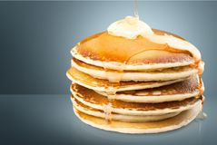 Pan cakes. Syrup butter stack honey meal buttermilk royalty free stock image