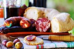 Pan, carne y vino portugués Fotografía de archivo