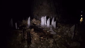 Pan of a cave inside. Hd stock video footage
