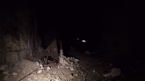 Pan of a cave inside stock footage