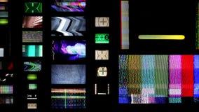Pan changing tv screens stock video