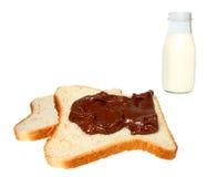 Pan, chocolate y leche Imagen de archivo libre de regalías