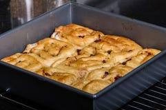 Pan of cinnamon rasin rolls just baked Stock Photos