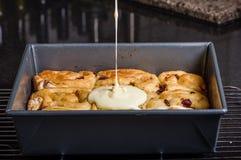 Pan of cinnamon rasin rolls just baked Stock Images
