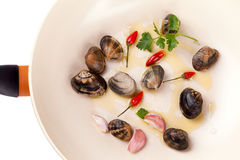 Pan With Clams Stock Photography