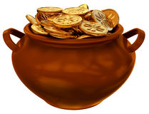 Pan with coins of leprechaun Stock Image