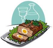 Pan con carne con los huevos hervidos libre illustration