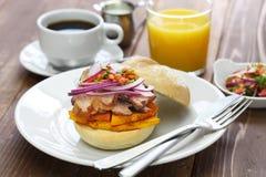 Pan con chicharron, peruvian pork sandwich stock photography
