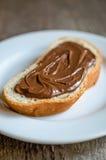 Pan con crema del chocolate Fotografía de archivo libre de regalías