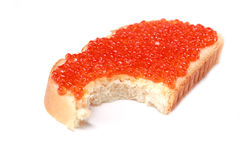 Pan con el caviar rojo Foto de archivo libre de regalías