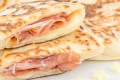 Pan con el jamón Imagen de archivo libre de regalías
