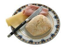 Pan con el jamón y el queso Foto de archivo