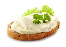 Pan con el queso cremoso foto de archivo libre de regalías