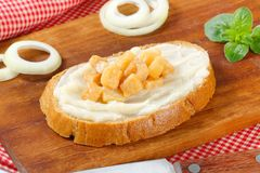 Pan con manteca de cerdo y chicharrones Fotografía de archivo libre de regalías