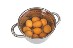 Pan with cooking eggs Stock Image