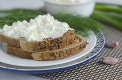 Pan cortado con el queso cremoso Foto de archivo