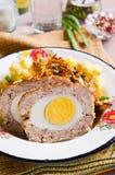 Pan de carne con el huevo Imagen de archivo libre de regalías