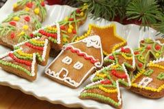 Pan de jengibre adornado colorido de la Navidad Imágenes de archivo libres de regalías