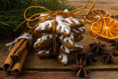 Pan de jengibre de la formación de hielo del regalo Foto de archivo libre de regalías