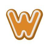 Pan de jengibre de la letra W Fuente de la miel-torta de la hierbabuena Cookies Foto de archivo libre de regalías