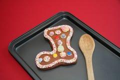 Pan de jengibre de la media de la Navidad Fotos de archivo