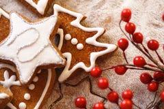 Pan de jengibre de la Navidad Fotografía de archivo libre de regalías
