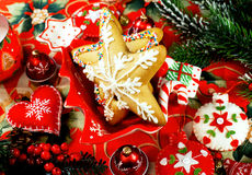 Pan de jengibre de la Navidad, tortas de especia Imagenes de archivo