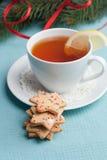 Pan de jengibre de la Navidad y taza de té Imágenes de archivo libres de regalías