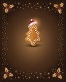 Pan de jengibre del chocolate de la Navidad Fotografía de archivo libre de regalías