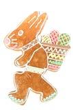 Pan de jengibre del conejito de pascua en blanco Foto de archivo libre de regalías