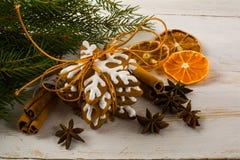 Pan de jengibre del copo de nieve de la formación de hielo de la Navidad Imágenes de archivo libres de regalías
