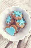 Pan de jengibre del invierno con las decoraciones de la pasta de azúcar Imagen de archivo