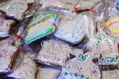 Pan de jengibre en mercado de la Navidad de Vilna durante advenimiento Imagenes de archivo