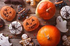 Pan de jengibre para Halloween y el primer de la calabaza top horizontal VI Fotografía de archivo