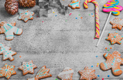 Pan de jengibre pintado del Año Nuevo Fotos de archivo libres de regalías