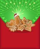 Pan de jengibre verde rojo de la enhorabuena de la Navidad Imagen de archivo libre de regalías
