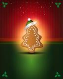 Pan de jengibre verde rojo de las tarjetas de Navidad Fotografía de archivo libre de regalías